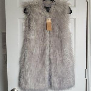Francesca's Grey Fur Vest